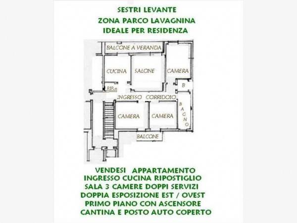 SESTRI LEVANTE ZONA PARCO LAVAGNINA VENDO APPARTAMENTO AMPIE DIMENSIONI
